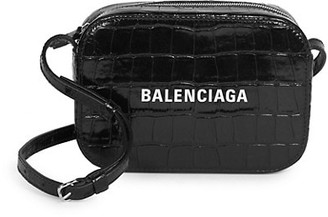 Balenciaga Extra-Small Everyday Croc-Embossed Leather Camera Bag