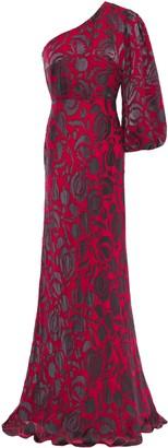 Saloni Lily One-shoulder Floral-print Devore-satin Gown