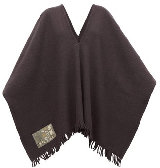 Albus Lumen - Fringed Merino-wool Poncho - Womens - Black