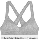 Calvin Klein Underwear Modern Cotton Stretch Cotton-blend Soft-cup Bra - Gray
