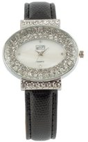 Eton Chic Diamante Black Leather Strap Watch - 2754J-0