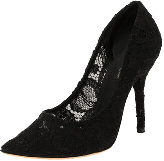 Dolce & Gabbana Black Lace Pointed Toe Pumps Size 37.5