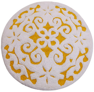 Saffron Fabs Bath Rug, Cotton, 36 Inch Round, 200 GSF, Damask Pattern,