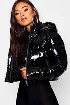 Thumbnail for your product : boohoo Petite Hooded Crop High Shine Coat