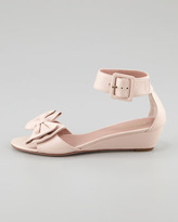 RED Valentino Calfskin Low-Wedge Sandal, Cammeo