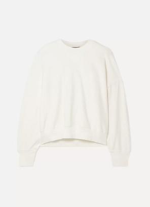 Bassike Button-detailed Canvas-trimmed Organic Cotton-fleece Sweatshirt - Ivory
