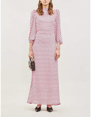 Olivia Rubin Elizabeth Polka Dot-Print Silk-Crepe Dress