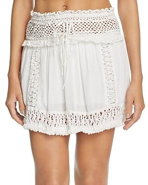 Surf.Gypsy Crochet Fringe Mini Skirt Swim Cover-Up