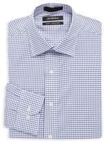 Saks Fifth Avenue Two Tone Gingham Cotton Dress Shirt