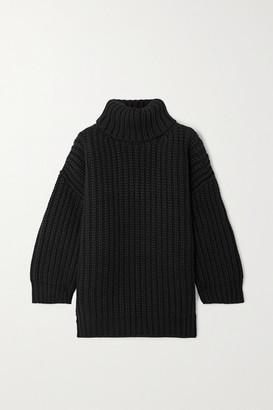 Dolce & Gabbana Ribbed Wool And Cashmere-blend Turtleneck Mini Dress - Black