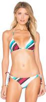 Vix Paula Hermanny Vintage Stripe Tri Bikini Top in White. - size M (also in )