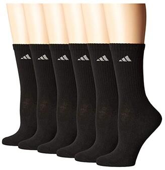 adidas Athletic 6-Pack Crew Socks (Black/Aluminum 2) Women's Crew Cut Socks Shoes