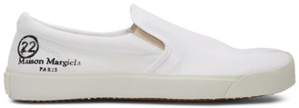 Maison Margiela White Canvas Slip-On Tabi Sneakers