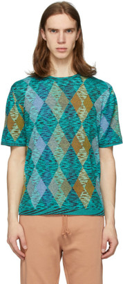 Missoni Blue and Multicolor Argyle T-Shirt
