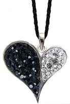BodyTrend Silver heart pendant with CZ mix crystals clear / black