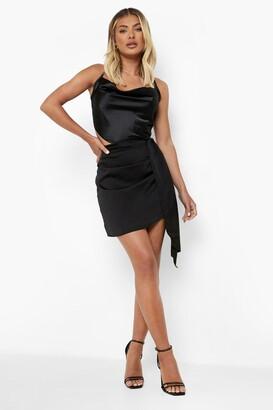 boohoo Drape Side Satin Mini Skirt