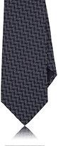 Giorgio Armani Men's Trapezoid-Pattern Silk Necktie-NAVY