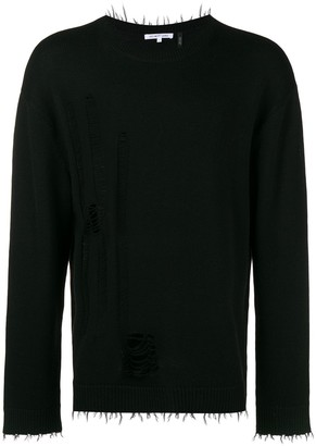 Helmut Lang Distressed Long-Sleeve Sweater