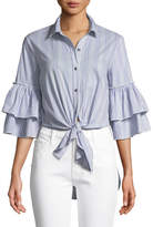 Ella Moss Ruffle-Sleeve Striped Tie-Front Cotton-Blend Blouse