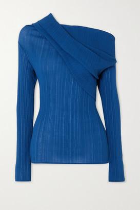 Nina Ricci Off-the-shoulder Draped Cotton-blend Crepon Top - Blue