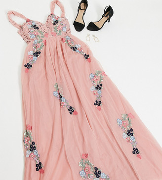 Maya Tall plunge front contrast floral embellished maxi dress in pink