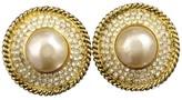 Chanel Gold-Tone Rhinestones Faux Pearl Clip-On Earrings