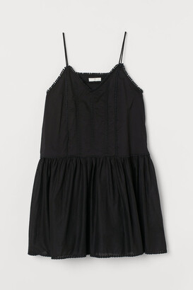 H&M Embroidered Cotton Dress - Black