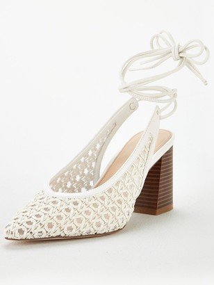 Very Cacia Tie Leg Basket Weave Court Shoes - White