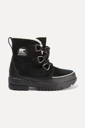 Sorel Torino Ii Faux Fur-trimmed Waterproof Suede And Rubber Ankle Boots - Black