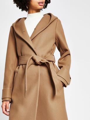 River Island Faux Fur Hooded Robe Coat - Beige