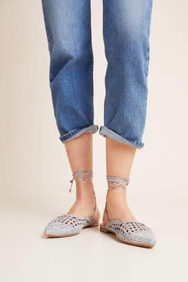 Anthropologie Mariko Woven Ankle-Tie Flats
