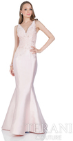Terani Evening - Elegant Beaded V-neck Polyester Fit and Flare Dress 1611E0182A