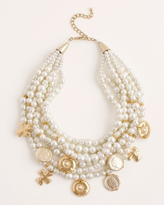 Chico's Multi-Strand Faux-Pearl and Goldtone Coin Necklace