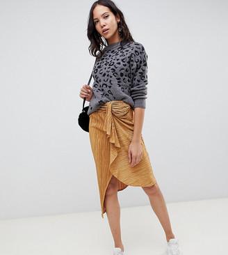 Asos DESIGN Tall plisse midi skirt with tie front