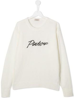 Pinko Kids TEEN logo-embroidered sweater