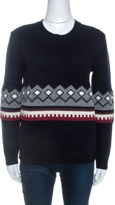 Burberry Navy Blue Wool Knit crew Neck Jumper S