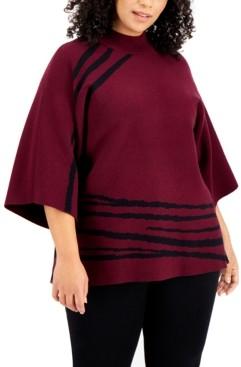 Alfani Plus Size Printed Mock-Neck Kimono Sweater, Created for Macy's