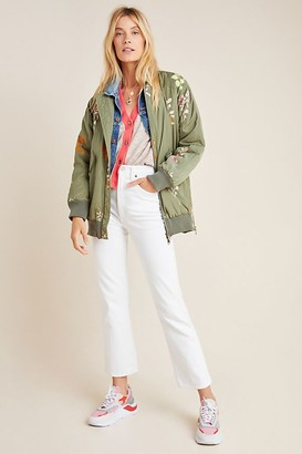Anthropologie Ainsley Embroidered Bomber Jacket