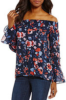 William Rast Annie Floral-Printed Off-The-Shoulder Long Bell-Sleeve Blouse
