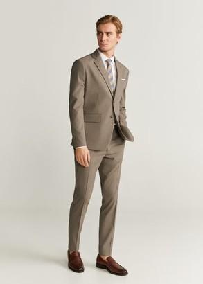 MANGO MAN - Pinstripe slim fit suit blazer beige - 36 - Men
