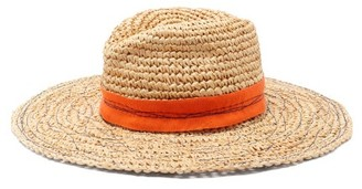 Lola Hats Mama Tarboush Raffia Wide-brim Fedora Hat - Orange Multi