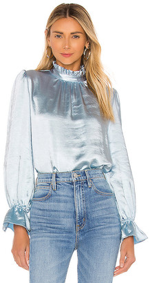 Cynthia Rowley Ruffle Neck Bell Sleeve Top