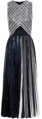 Proenza Schouler Cutout Cady-paneled Pleated Coated Cloque Midi Dress