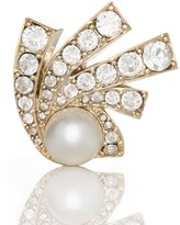 St. John Signature Pearl Brooch With Swarovski Crystals