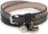 Alexander Mcqueen Skull Double Wrap Leather Bracelet