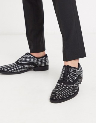 Asos Design DESIGN lace up dress shoes in black velvet with all over studs