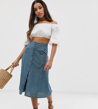 Asos DESIGN Petite midi skirt with button front
