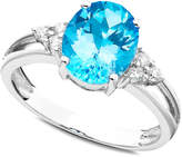 Macy's 14k White Gold Ring, Blue Topaz (2-3/4 ct. t.w.) and Diamond (1/10 ct. t.w.)