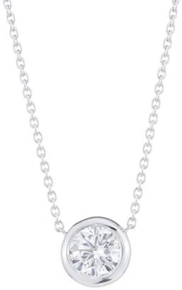 Roberto Coin Diamond By The Inch 18K White Gold & Diamond Circle Pendant Necklace