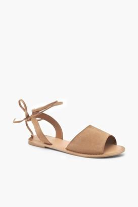 boohoo Suede Peeptoe Wrap Ankle Strap Sandals